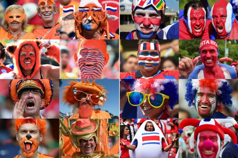 A combination of pictures taken in June 2014 shows supporters of The Netherlands (at L) and Costa Rica (at R) during the 2014 FIFA World Cup in Brazil. The Netherlands will play against Costa Rica in the quarter-finals of the tournament on July 5, 2014 at the Fonte Nova Arena in Salvador. (Getty Images)