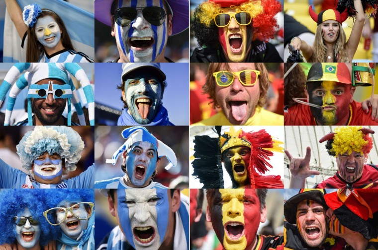 A combination of pictures taken in June and July 2014 shows supporters of The Argentina (at L) and Belgium (at R) during the 2014 FIFA World Cup in Brazil. The Argentina will play against Belgium in the quarter-finals of the tournament on July 5, 2014 at The National Stadium (Mane Garrincha) in Brasilia. (Getty Images)