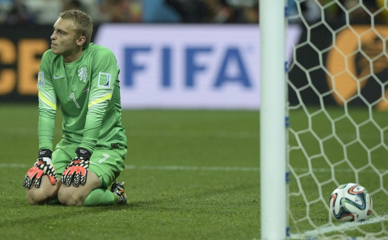 Netherlands' goalkeeper Jasper Cillessen reacts after losing their FIFA World Cup semi-final match against Argentina in a penalty shoot-out following extra time at The Corinthians Arena in Sao Paulo on July 9, 2014. (Juan Mabromata/Getty Images)