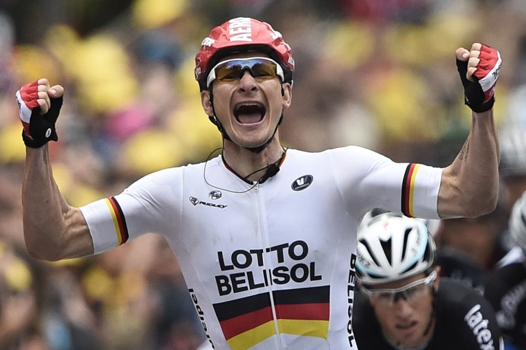 Germany's Andre Greipel celebrates as he crosses the finish line at the end of the 194 km sixth stage of the 101st edition of the Tour de France cycling race on July 10, 2014 between Arras and Reims, northern France. (Lionel Bonaventure/Getty Images)