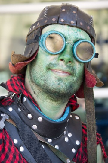 "Matthew ""Bacchus"" Lister poses in costume on the first day of the 45th annual San Diego Comic-Con, in San Diego California July 24, 2014. The four-day pop culture extravaganza celebrates film, TV, video games, comic books, costumes and other popular arts. More than 150,000 fans are expected to attend the sold-out event. (Robyn Beck/Getty Images)"