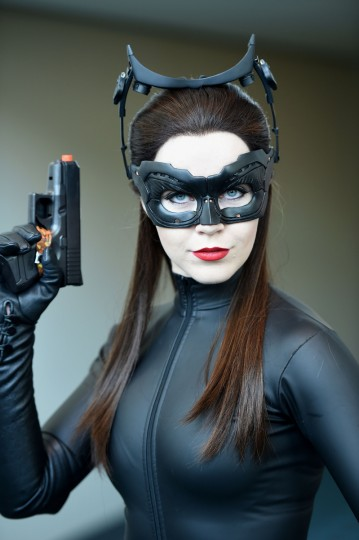 Attendee Genevieve Nylen is dressed as Cat Woman on the third day of the 45th annual Comic-Con, in San Diego, California July 26, 2014 at the San Diego Convention Center . (Robyn Beck/Getty Images)