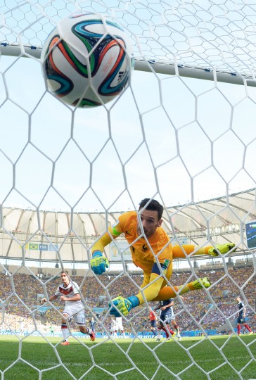 France goalkeeper Hugo Lloris watches as Mats Hummels' header finds the net in the first half. Germany defeated France, 1-0, in Friday's World Cup quarterfinal match at Maracana Stadium. (Alexandre Loureiro/Getty Images)
