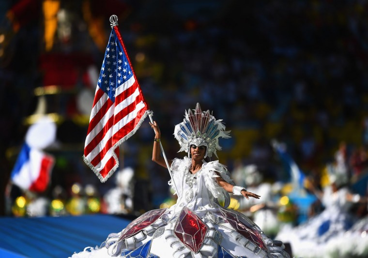 A dancer performs during the closing ceremony prior to the 2014 FIFA World Cup Brazil Final match between Germany and Argentina at Maracana on July 13, 2014 in Rio de Janeiro, Brazil. (Laurence Griffiths/Getty Images)