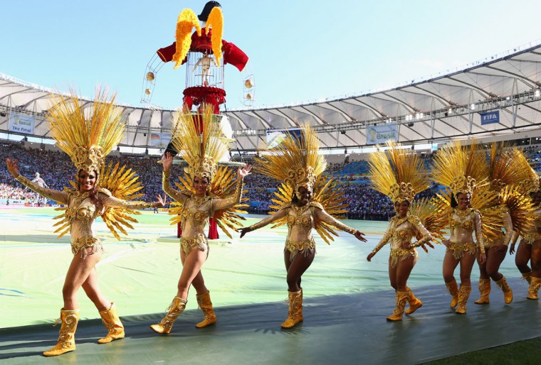 Dancers perform during the closing ceremony prior to the 2014 FIFA World Cup Brazil Final match between Germany and Argentina at Maracana on July 13, 2014 in Rio de Janeiro, Brazil. (Martin Rose/Getty Images)