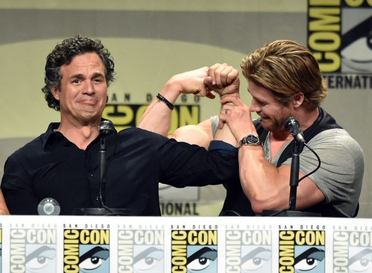 Actors Mark Ruffalo (L) and Chris Hemsworth attend the Marvel Studios panel during Comic-Con International 2014 at San Diego Convention Center on July 26, 2014 in San Diego, California. (Kevin Winter/Getty Images)