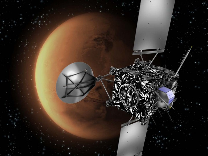 Rosetta wakes up: A file handout picture released by the European Space Agency (ESA) shows an artist's impression of the ESA probe Rosetta with Mars in the background. The three-tonne probe blasted off aboard an an Ariane V rocket from Kourou, French Guiana, on March 2, 2004, beginning a decade-long quest to hunt a comet in the depths of the Solar System and shadow it around the Sun in a bid to tease out secrets of how life began on Earth. Rosetta, one of the most ambitious missions in the history of space, goes into high-risk mode on January 20, 2014 when Europe rouses the comet-chasing probe from years of hibernation. Launched almost a decade ago, Rosetta is a billion-dollar bet to prise open the secrets of comets, believed to be remnants from the very birth of our star system. (ESA PHOTO BY C.CARREAU VIA AFP/Getty Images)
