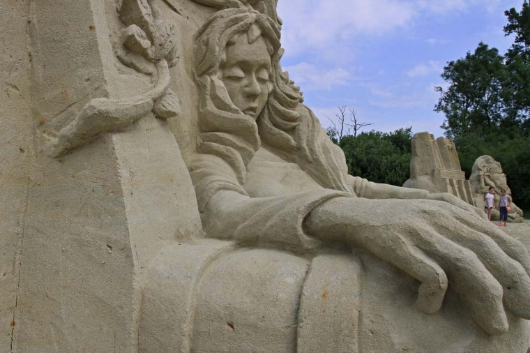 "A sand sculpture ""Sleeping beauty"" is pictured during the sand festival in Lednice, south Moravia, 50 km south of Brno on June 19, 2014.  A Czech composer who celebrated Moravian traditions in  much of his work was born 160 years ago today on July 3, 1854.   