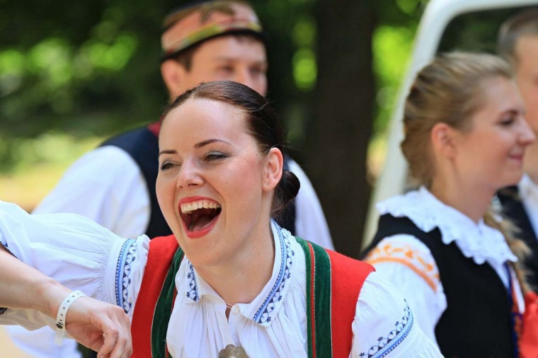 A woman celebrates during the oldest folklore festival of Europe in Straznice, south Moravia, 80 km southeast from Brno, Czech Republic on June 29, 2014. Leoš Janáček, a Czech composer who celebrated Moravian traditions in  much of his work was born 160 years ago today on July 3, 1854.      || CREDIT: RADEK MICA - AFP/GETTY IMAGES