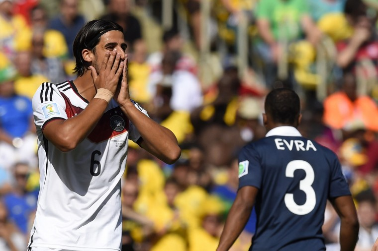 Midfielder Sami Khedira reacts during Germany's 1-0 win over France in the World Cup quarterfinals. Germany advances to its fourth straight World Cup semifinals appearance. (FRANCK FIFE/AFP/Getty Images)