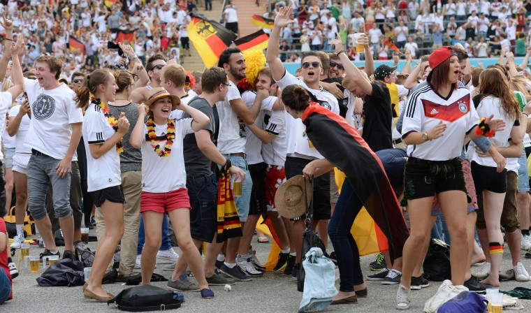 German fans celebrate Mats Hummels' goal against France. (Alexandre Loureiro/Getty Images)