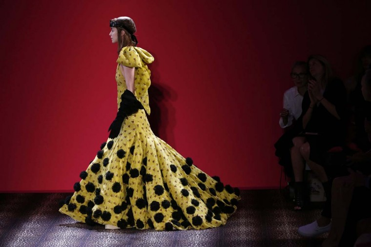 A model presents a creation for Schiaparelli during the 2014/2015 Haute Couture Fall-Winter collection fashion show on July 7, 2014 in Paris. (Francois Guillo/AFP/Getty Images)