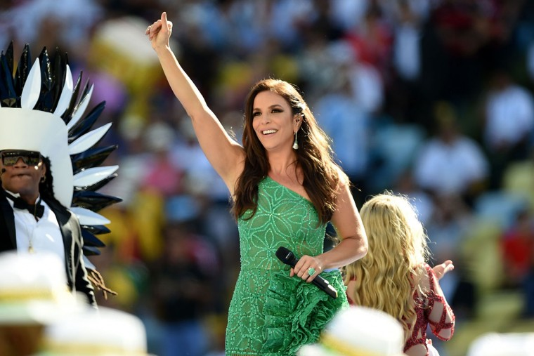 Brazilian singer Ivete Sangalo waves to fans during the closing ceremony prior to the 2014 FIFA World Cup final football match between Germany and Argentina at the Maracana Stadium in Rio de Janeiro, Brazil, on July 13, 2014. (Pedro Ugarte/AFP/Getty Images)