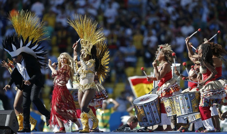 Colombian singer Shakira (2L) performs during the closing ceremony prior to the 2014 FIFA World Cup final football match between Germany and Argentina at the Maracana Stadium in Rio de Janeiro, Brazil, on July 13, 2014. (Adrian Dennis/AFP/Getty Images)