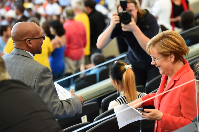 German Chancellor Angela Merkel (R) and South Africa's President Jacob Zuma attend the closing ceremony prior to the 2014 FIFA World Cup final football match between Germany and Argentina at the Maracana Stadium in Rio de Janeiro, Brazil on July 13, 2014. (Christophe Simon/AFP/Getty Images)