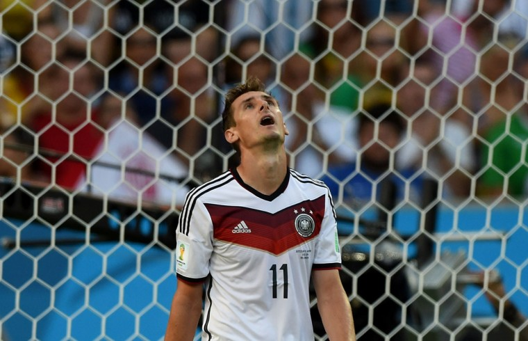 Germany's forward Miroslav Klose reacts during the 2014 FIFA World Cup final football match between Germany and Argentina at the Maracana Stadium in Rio de Janeiro on July 13, 2014. (Pedro Ugarte/AFP/Getty Images)
