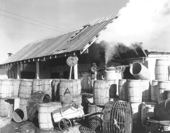 steam rising from the cookers of a crab picking house on Virginia's Northern Neck. (A. Aubrey Bodine, May 6, 1990, Sun photo)