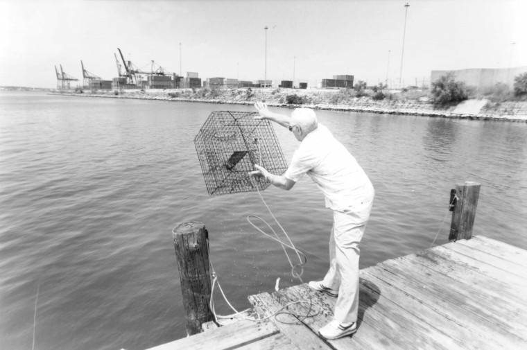 Bill Meyers crabs from his pier with Dundalk Marin Terminal in background. (Perry Thorsvik, July 16, 1992, Sun photo)