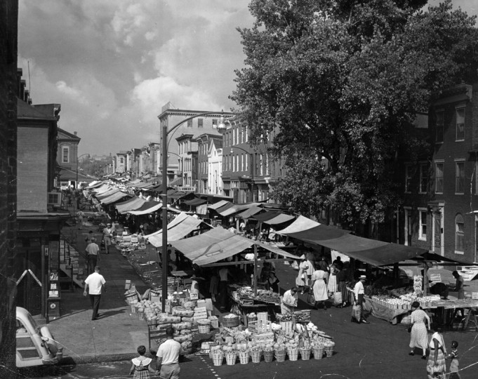 Hollins Market in 1957, dates back to 1836. (A. Aubrey Bodine/Baltimore Sun/October 27, 1957)