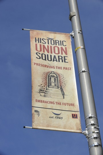 The community pays the city to put up the banners promoting the area. Residents of Union Square, including former neighborhood association president Chris Taylor, have successfully decreased the vacancy rate in their neighborhood from 50 percent. (Jed Kirschbaum/Baltimore Sun/Aug. 5, 2011)