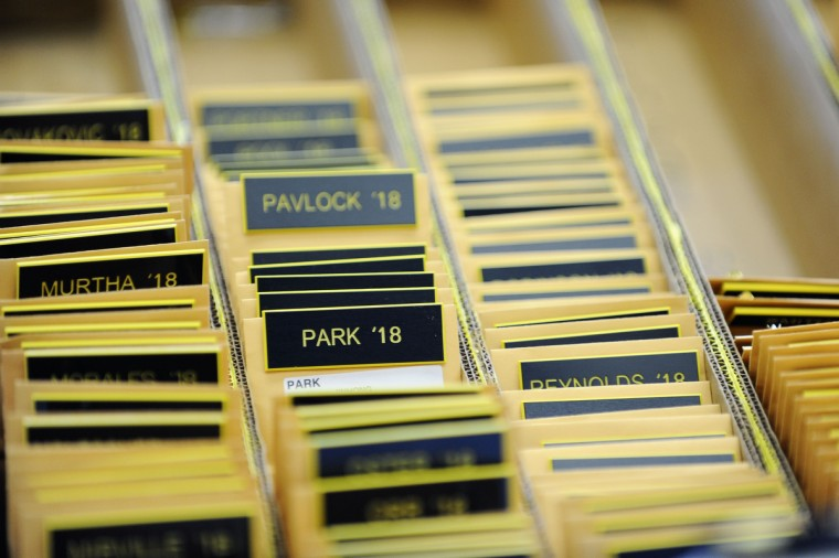 Name tags are lined up in Alumni Hall for Induction Day Tuesday morning. (Rachel Woolf/Baltimore Sun)