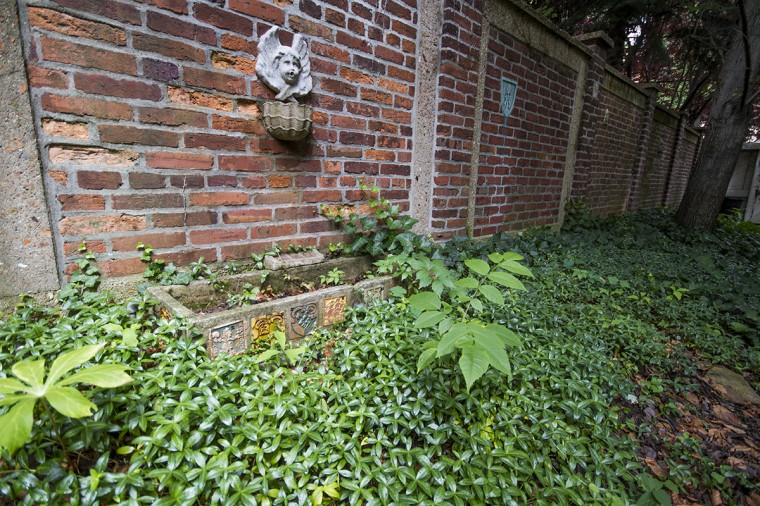 The rehabilitated garden in the backyard at the H.L. Mencken House in Union Square, across from Union Square Park. The tiles were handmade by Mencken. (Kalani Gordon/Baltimore Sun/2014)