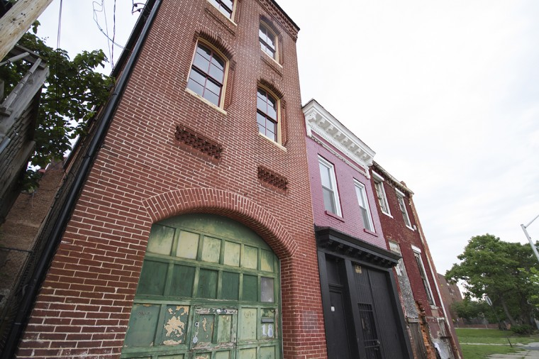 Building facades in Union Square in Southwest Baltimore. (Kalani Gordon/Baltimore Sun/2014)