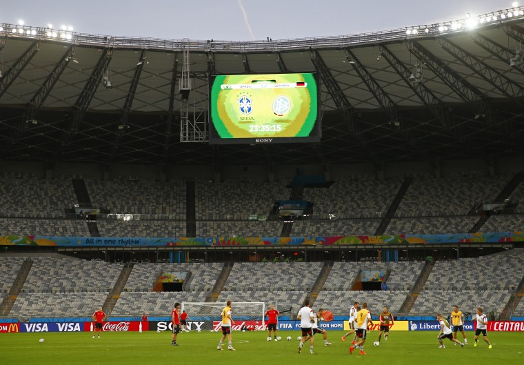 Germany's national soccer players attend a training session at Mineirao stadium in Belo Horizonte July 7, 2014. Germany will play Brazil in a semi-final match of the 2014 World Cup on July 8 in Belo Horizonte. (Eddie Keogh/Reuters)