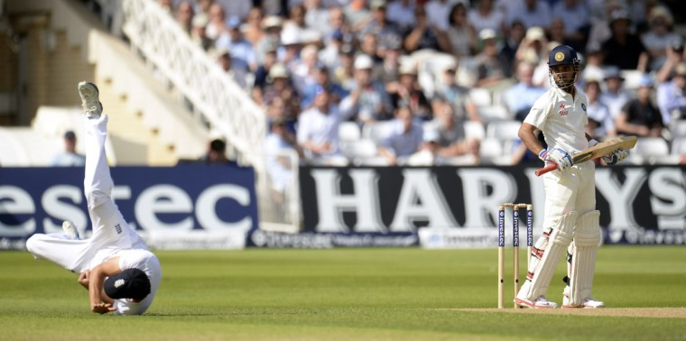 India's Ajinkya Rahane is caught by England's Alastair Cook for 32 runs during the first cricket test match at Trent Bridge cricket ground in Nottingham, England July 9, 2014. REUTERS/Philip Brown