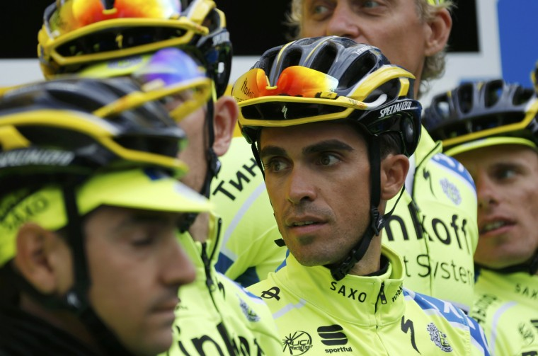 Tinkoff-Saxo team rider Alberto Contador prepares for a training session near Leeds, July 3, 2014, The Tour de France cycling race will start on July 5. (Jean-Paul Pelissier/Reuters)