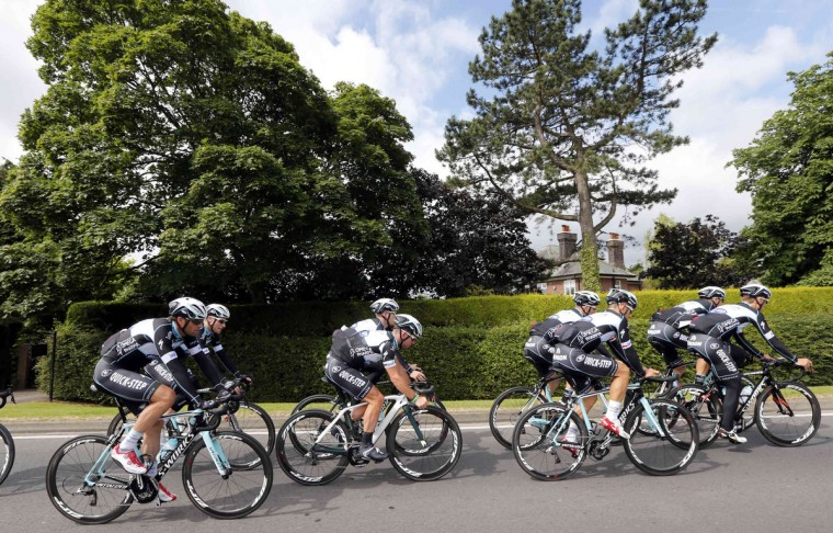 Omega Pharma-Quick Step team riders including Mark Cavendish of Britain cycle during a training session for the Tour de France cycling race near Leeds, July 4, 2014. The Tour de France cycling race will start on July 5. (Jean-Paul Pelissier/Reuters)