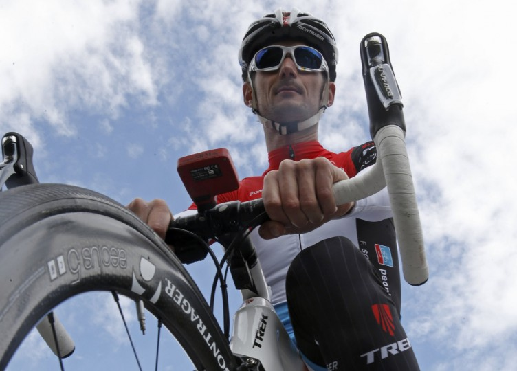 Trek Factory team rider Frank Schleck of Luxembourg concentrates before a training session for the Tour de France cycling race near Leeds, July 4, 2014. The Tour de France cycling race will start on July 5. (Christian Hartmann/Reuters)