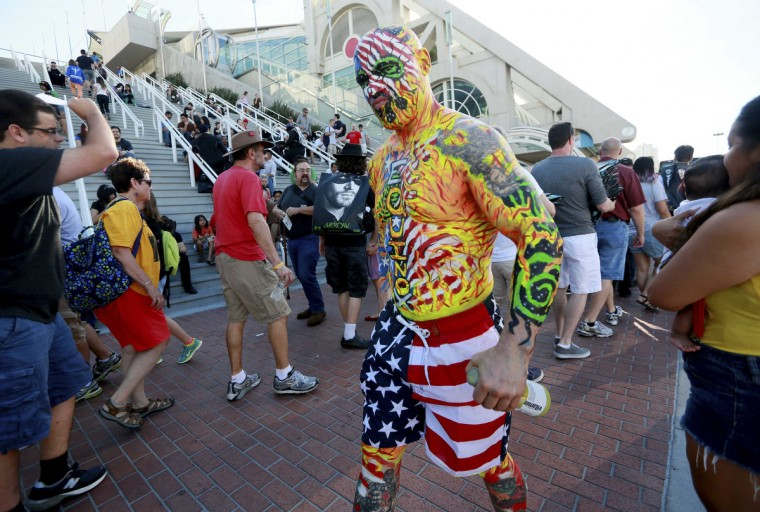 A costumed man who gave his name as Nomad walks outside of the San Diego Convention Center during the 2014 Comic-Con International Convention in San Diego, California July 23, 2014. (Sandy Huffaker/Reuters)