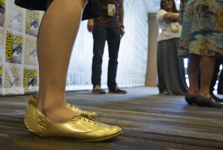 "The shoes of actress Kristen Schaal, who voices ""Trixie"", are pictured at a press line for the movie ""Toy Story That Time Forgot"" during the 2014 Comic-Con International Convention in San Diego, California July 24, 2014. (Mario Anzuoni/Reuters)"