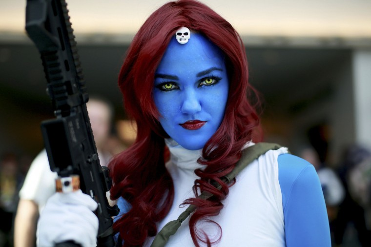 Allie Shaughnessy, who is dressed as Mystique, during the 2014 Comic-Con International Convention in San Diego, California July 24, 2014. (Sandy Huffaker/Reuters)