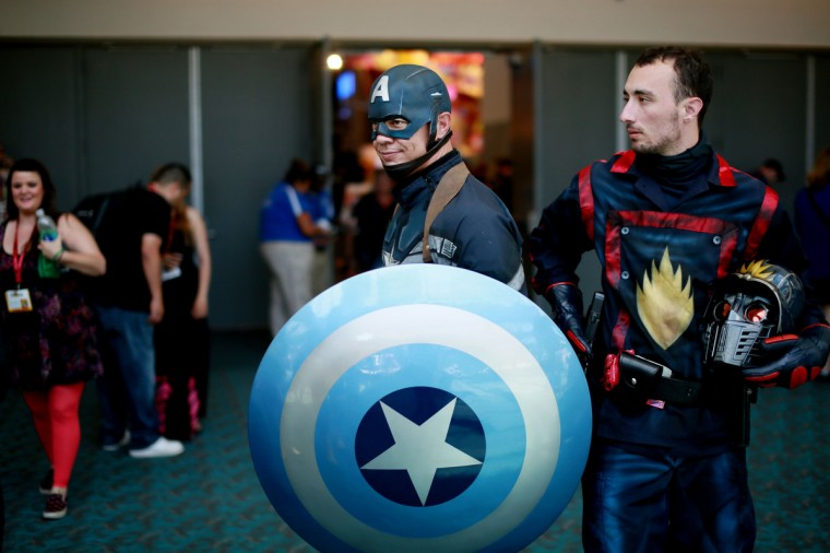 An attendee dressed as Captain America is seen during the 2014 Comic-Con International Convention in San Diego, California July 24, 2014. (Sandy Huffaker/Reuters)