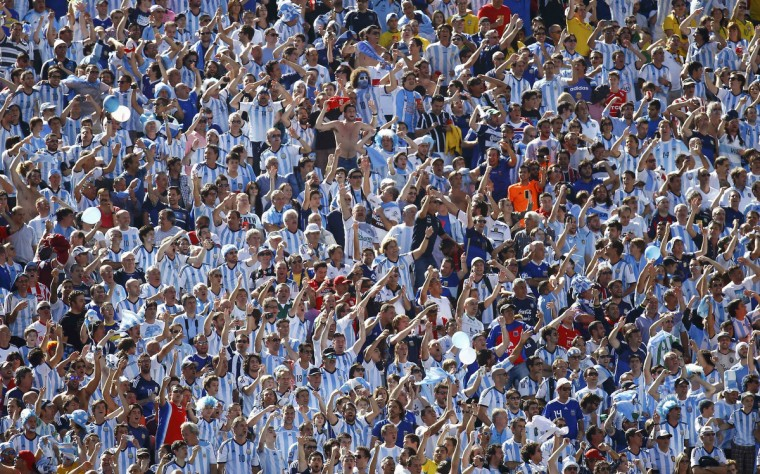 Argentina fans wait for the 2014 World Cup round of 16 game between Argentina and Switzerland at the Corinthians arena in Sao Paulo July 1, 2014. (Kai Pfaffenbach/Reuters)