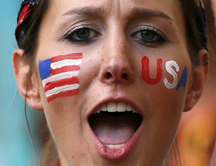 A U.S. fan cheers before the 2014 World Cup round of 16 game between Belgium and the U.S. at the Fonte Nova arena in Salvador July 1, 2014. (Michael Dalder/Reuters)
