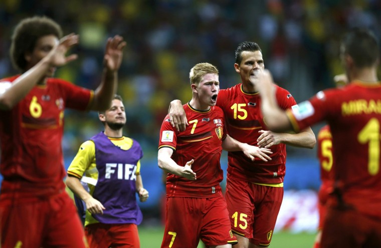 Belgium's Kevin De Bruyne (7) celebrates with teammates after scoring a goal during extra time in the 2014 World Cup round of 16 game between Belgium and the U.S. at the Fonte Nova arena in Salvador July 1, 2014. (Marcos Brindicci/Reuters)