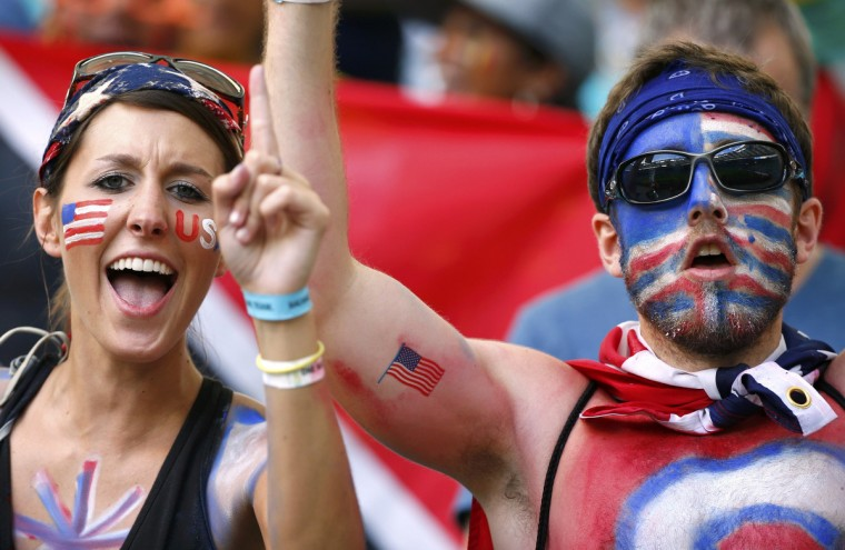 U.S. fans cheer before the 2014 World Cup round of 16 game between Belgium and the U.S. at the Fonte Nova arena in Salvador July 1, 2014. (Michael Dalder/Reuters)