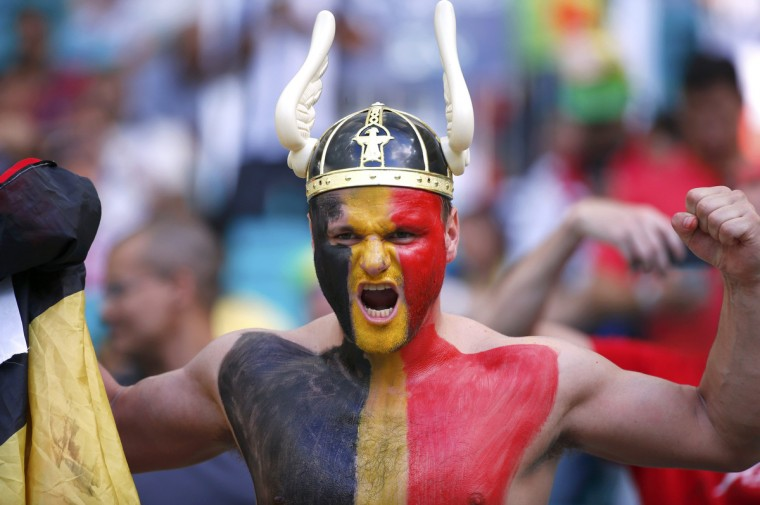 A Belgium fan poses before during the 2014 World Cup round of 16 game between Belgium and the U.S. at the Fonte Nova arena in Salvador July 1, 2014. (Michael Dalder/Reuters)