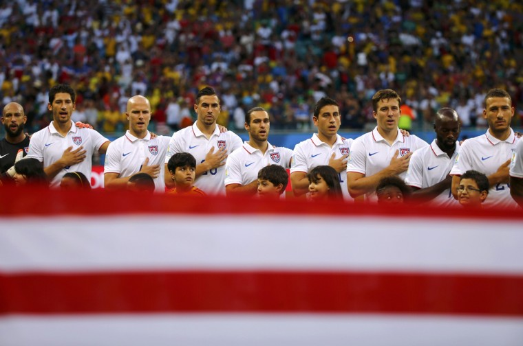 U.S. players sing the anthem before the 2014 World Cup round of 16 game between Belgium and the U.S. at the Fonte Nova arena in Salvador July 1, 2014. (Michael Dalder/Reuters)