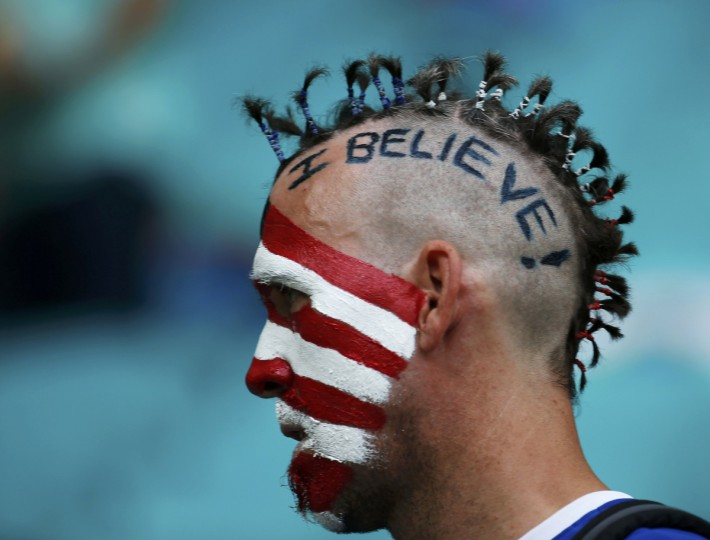 A U.S. fan waits for the 2014 World Cup round of 16 game between U.S. and Belgium at the Fonte Nova arena in Salvador July 1, 2014. (Sergio Moraes/Reuters)