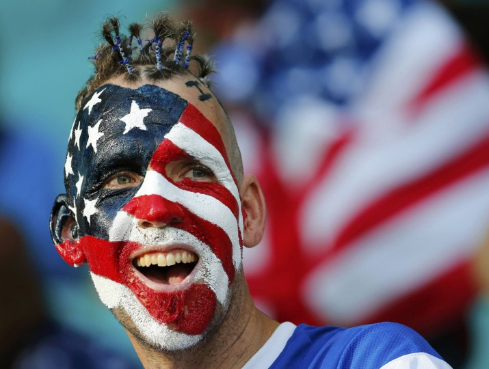 A U.S. fan cheers before the 2014 World Cup round of 16 game between U.S. and Belgium at the Fonte Nova arena in Salvador July 1, 2014. (Yves Herman/Reuters)