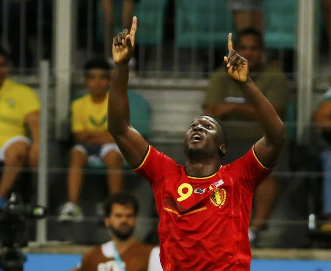 Belgium's Romelu Lukaku celebrates after scoring a goal during extra time in their 2014 World Cup round of 16 game against the U.S. at the Fonte Nova arena in Salvador July 1, 2014. (Yves Herman/Reuters)