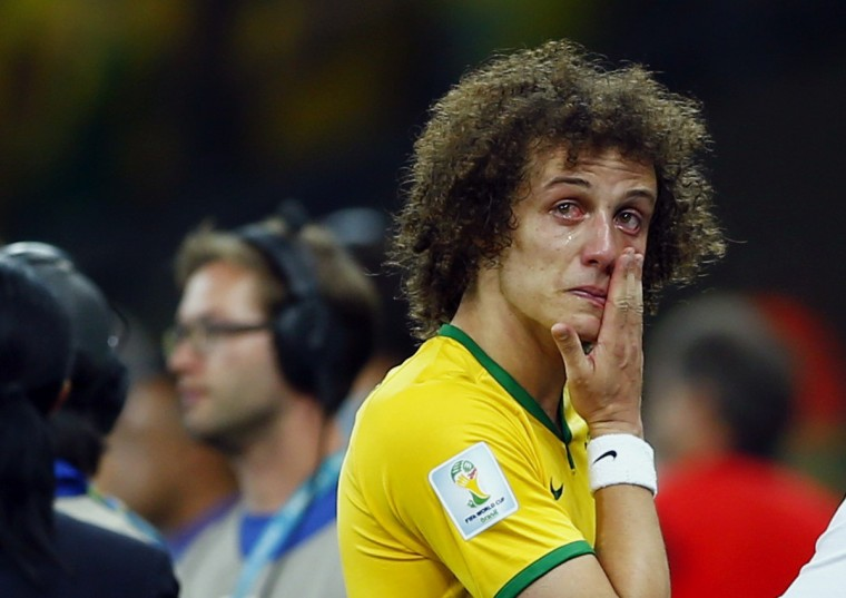 Brazil's David Luiz cries after his team lost to Germany in their 2014 World Cup semi-finals at the Mineirao stadium in Belo Horizonte July 8, 2014. (Eddie Keogh/Reuters)