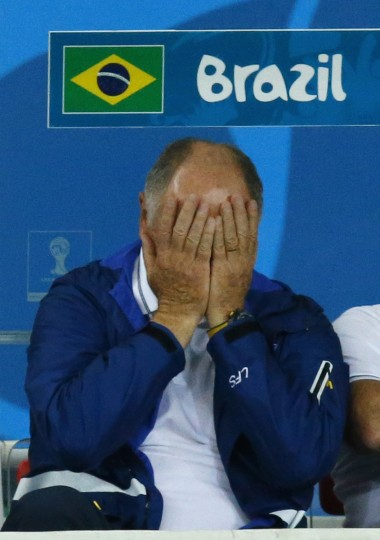 Brazil's coach Luiz Felipe Scolari reacts during his team's 2014 World Cup semi-finals against Germany at the Mineirao stadium in Belo Horizonte July 8, 2014. (Ruben Sprich/Reuters)