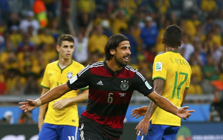 Germany's Sami Khedira celebrates after scoring Germany's fifth goal during the 2014 World Cup semi-finals between Brazil and Germany at the Mineirao stadium in Belo Horizonte July 8, 2014. (Eddie Keogh/Reuters)