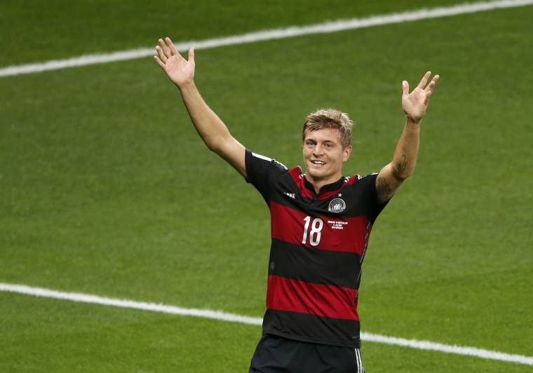 Germany's Toni Kroos celebrates after scoring his team's third goal against Brazil during their 2014 World Cup semi-finals at the Mineirao stadium in Belo Horizonte July 8, 2014. (David Gray/Reuters)