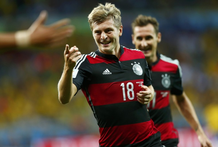 Germany's Toni Kroos celebrates after scoring his second goal during the 2014 World Cup semi-finals between Brazil and Germany at the Mineirao stadium in Belo Horizonte July 8, 2014. (Eddie Keogh/Reuters)